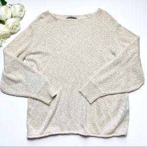 ZARA • Oversized Knitted cream Sweater Sz S